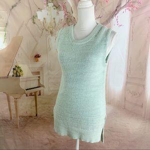 J Crew Mint Green Cotton Knit Sleeveless Sweater